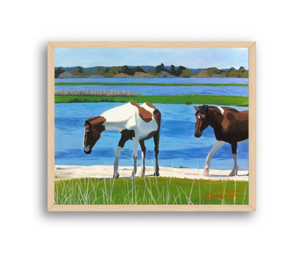 Assateague Horses Painting Natural Wood Stain Wood Frame