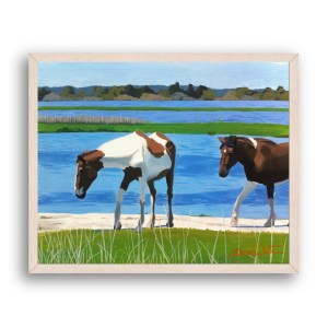 Assateague Horses Painting Off White Stain Wood Frame