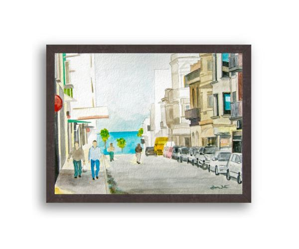 Montevideo Uruguay Painting Black Wood Frame