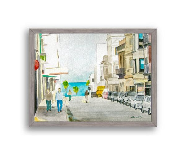 Montevideo Uruguay Painting Gray Wood Frame