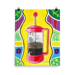 French Press Painting Art Print Bohemian