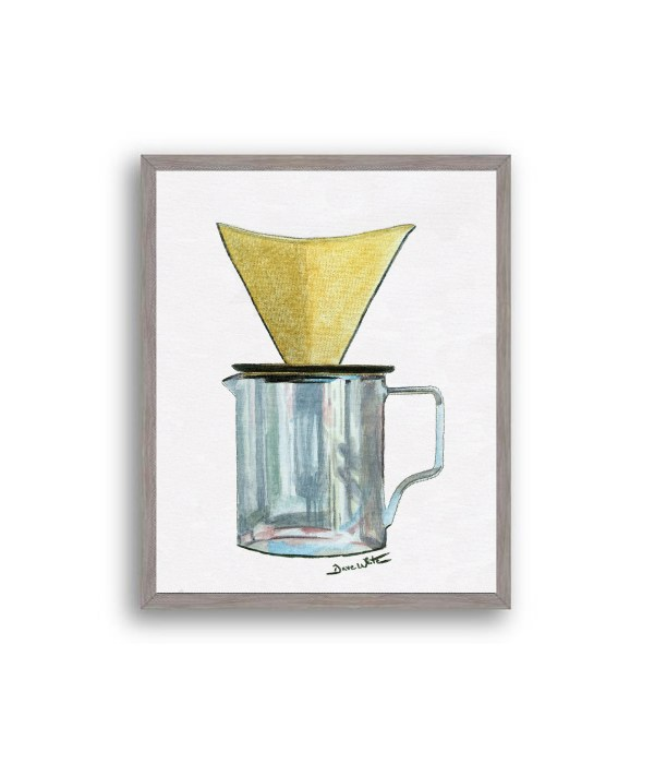 Pour Over Coffee Painting Grey Wood Frame