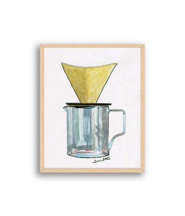 Pour Over Coffee Painting Natural Wood Frame