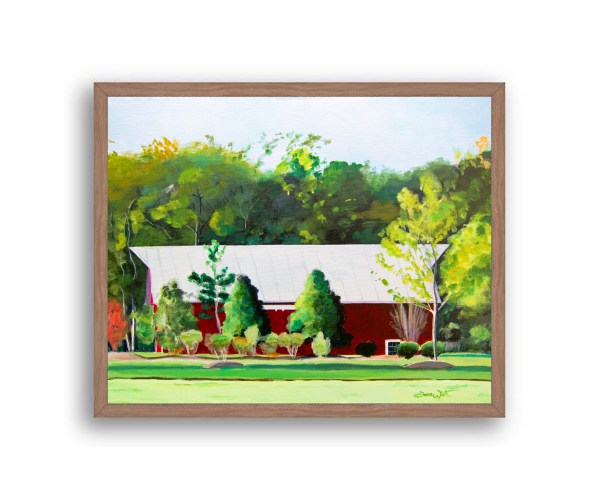 Red Barn One Loudoun Painting Walnut Wood Frame