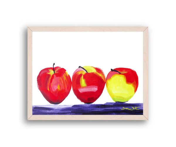 Apples Painting Off White Frame