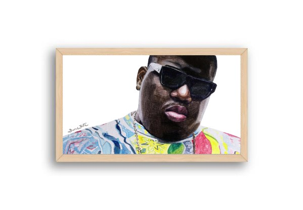 Biggie Smalls Portrait Painting Natural Wood Frame