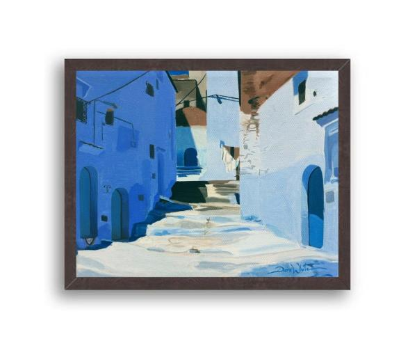 Chefchaouen Morocco Painting Art Print Black Wood Frame
