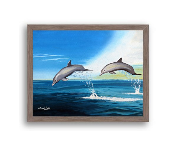 Dolphins Painting Dark Walnut