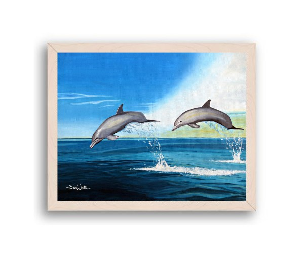 Dolphins Painting Off White Frame