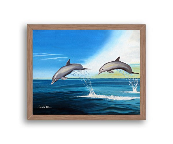 Dolphins Painting Walnut Frame