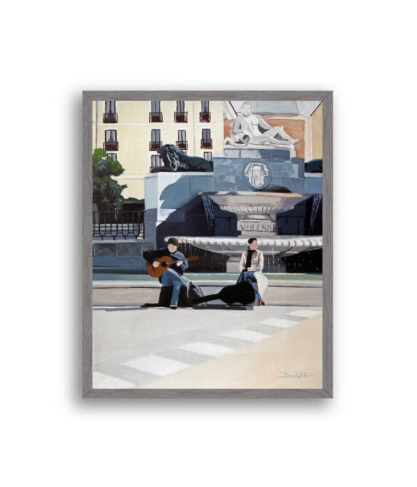 Madrid Plaza de Oriente Painting Charcoal Frame