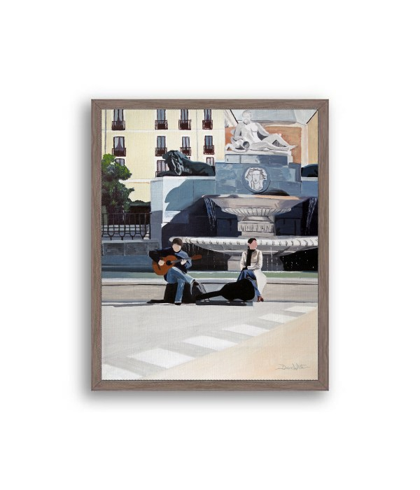Madrid Plaza de Oriente Painting Dark Walnut Frame