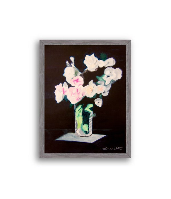 Rose Flowers Painting Charcoal Wood Frame