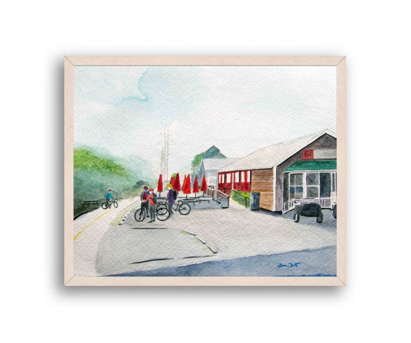 W&OD Trail Ashburn Painting Off White Wood Frame