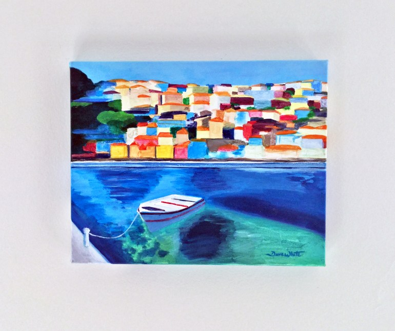 Original Painting Mediterranean Village and Boat
