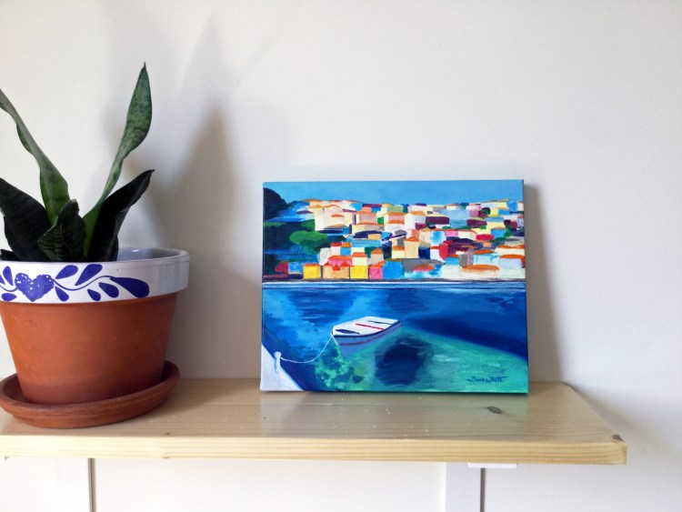 Original Painting Mediterranean Village and Boat on Canvas