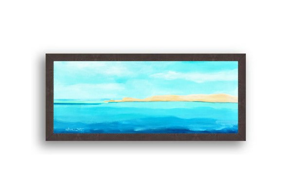 Formentera Spain Seascape Painting Black Wood Frame