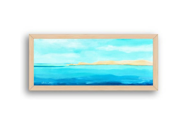 Formentera Spain Seascape Painting Natural Wood Frame