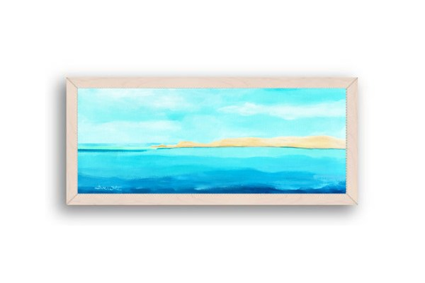 Formentera Spain Seascape Painting Off White Wood Frame