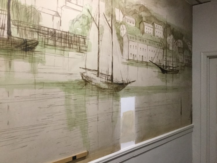 Historical Mural Restoration at Bank of America in Georgetown, Washington DC - Before Photo