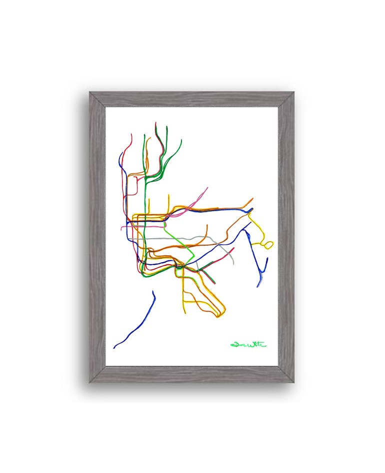 NYC-Subway-Map-Art-Print-Charcoal-Frame