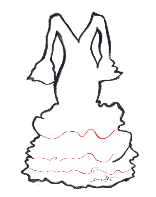 flamenco dress, flamenco art, spain art, spanish art, dave white artist, dave white art, spanish dress, sevilla, sevilla art, seville, seville art, dress drawing, flamenco dress art