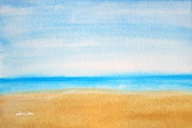 beach art, beach painting, relaxing beach, beach scene, relaxing beach scene