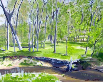 saranac park, ashburn art, ashburn artist, one loudoun, landscape painting, oil painting, artist dave white