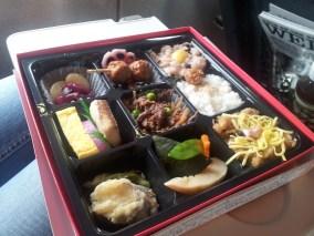 A Japanese bento box, containing assorted nom noms