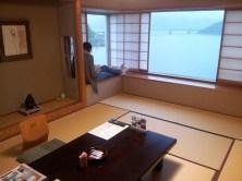 An image of a tatami room looking over Lake Kawaguchiko, Mt Fuji