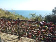A fence covered with lovers' padlocks, Enoshima island