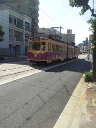 A tram heading for Hiroshima Station