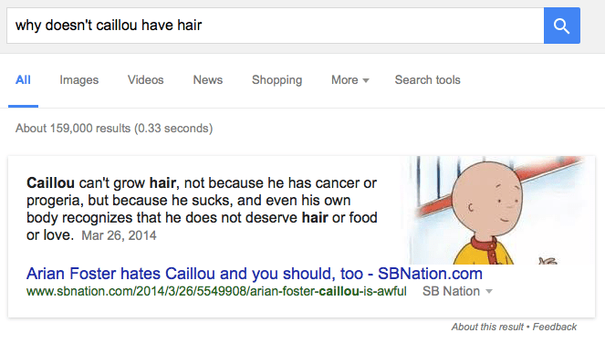 Why Caillou doesn't have hair