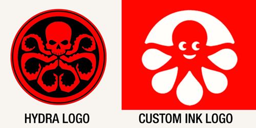 separated at birth: The Hydra and-CustomInk logos