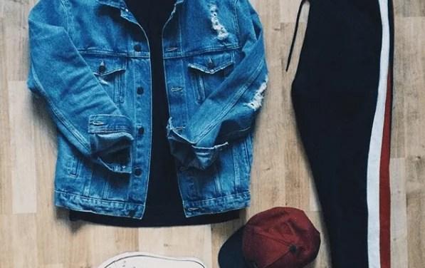 Zestaw #6: Kurtka jeansowa + spodnie lampasy