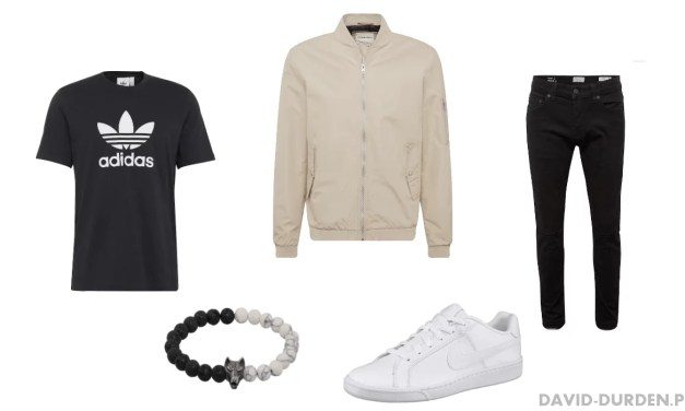 Zestaw #9: Przejściowa kurtka, koszulka Adidas i jeansy