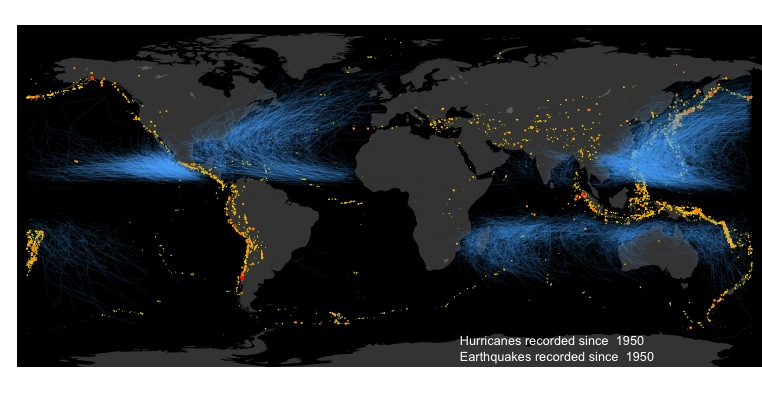 Hurricanes World Map.Mapping Global Earthquakes And Hurricane Tracks With R