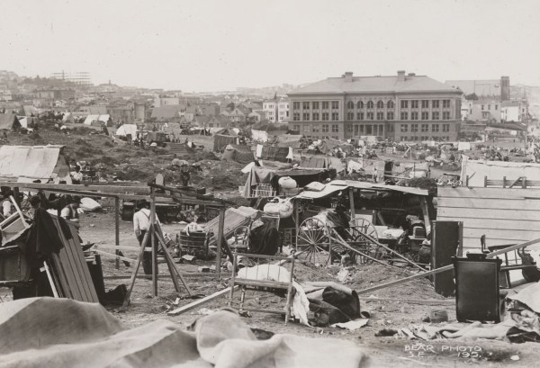 Early makeshift refugee camp in Mission Park. California State Library, California History Room