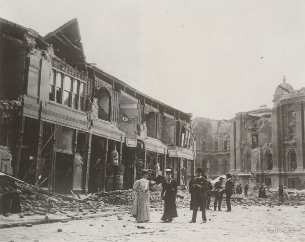 Ruins near City Hall. California State Library, California History Room