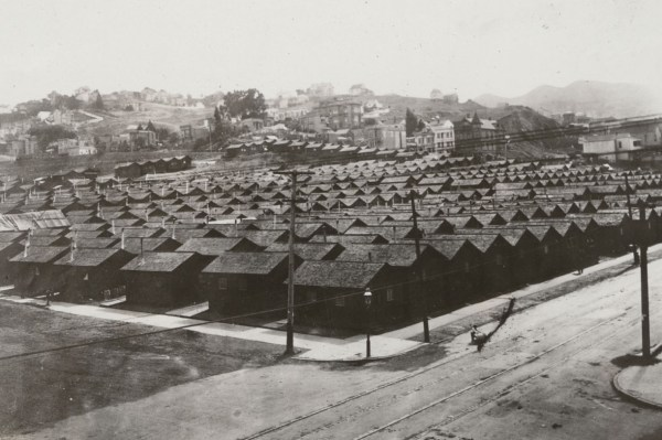 Refugee camp in Mission Park. California State Library, California History Room.