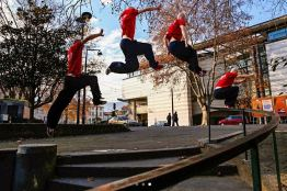 Une chronophotographie prise par Benjamin Bruel de l'école de journalisme de Grenoble, pour un reportage pour L'Équipe !