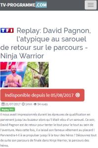 Ninja Warrior, Juillet 2017, Programme TV, Cannes