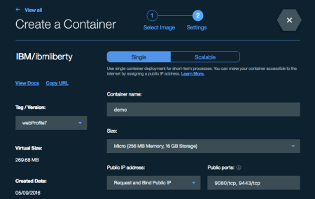 Create a container