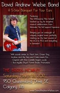 David Andrew Wiebe Band @ The Brass Monkey Calgary Alberta March 18 2017