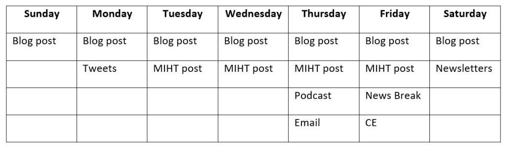 Weekflow task table