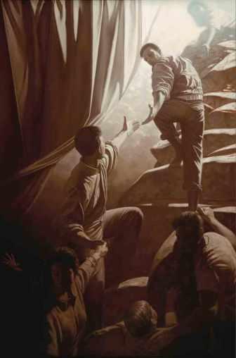 Obra do pintor David Linn que retrata a importância da cooperação