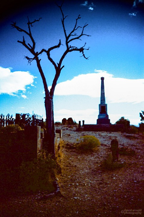 Lone Monument, Virginia City Cemetery, Virginia City, Nevada. (Kodak Ektachrome E-100G film, process C-41)