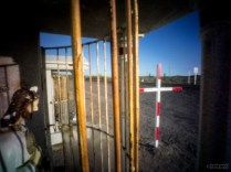 Caged Statue and Cross, Shrine Near El Cien, Highway 1, Baja Calfiornia Sur, Mexico