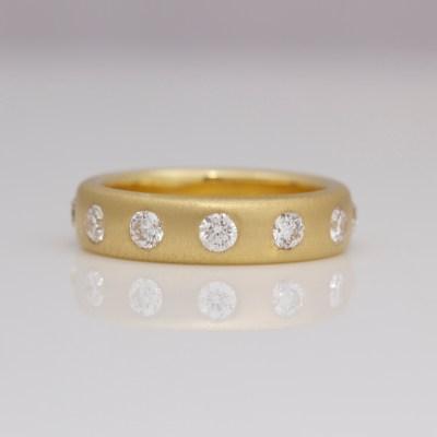 Contemporary diamond eternity ring yellow gold