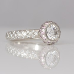 Contemporary pink and white diamond engagement ring